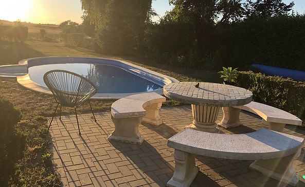 Pool mit Sonnenuntergang FH Art-Flair Reichenow
