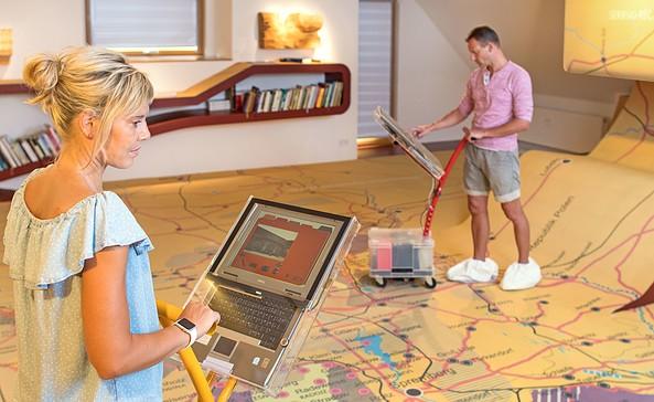 """Infosauger im """"Archiv verschwundener Orte"""", Foto: Tourismusverband Lausitzer Seenland, Nada Quenzel"""